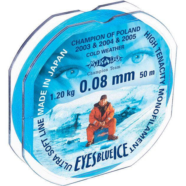 Леска мононить Mikado EYES BLUE ICE 0,08 (25 м) - 1.20 кг.